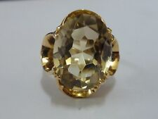 Ladies Vintage Stunning 9ct Gold Fancy High Set Quartz Solitaire Ring - Size O