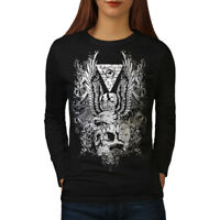 Wellcoda Skull Vintage Womens Long Sleeve T-shirt, Skull Casual Design