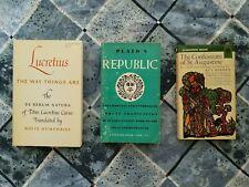 Lot of 3 philosophy books (Plato, St. Augustine, Lucretius) Paperback