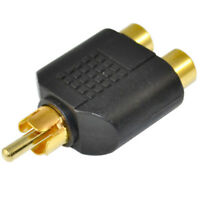 HD_ KQ_ 1Pcs Gold Plated RCA Male to Double RCA Female Socket AV Audio Cable Ada