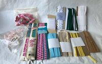 LOT VINTAGE COTTON SEWING TRIM BINDING, LACE AND ZIPPERS