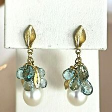Blue Topaz & Pearl 18k Yellow Gold Drop Pierced Earrings