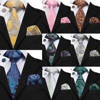 Classic Paisley Blue Yellow Pink Green Silk Men's Tie Jacquard Necktie set Lot