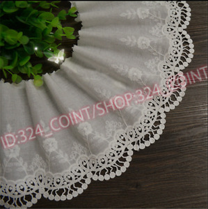 H206 Embroidery Floral Cotton Lace Trim Ribbon Wedding Fabric Sewing 13cm wide
