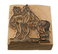 Tampone Inchiostro Fatto a Mano Legno Statuetta Posizione Erotico Kamasutra 2551