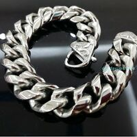 Cool Silver Cuban Curb Chain Mens 316L Stainless Steel  Bangle Bracelet Jewelry