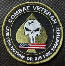 Combat Veteran With Skull Embroidered Biker Patch