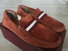 550$ Bally Pearce Rust Sienna Suede Driver Size US 13 Made in Italy