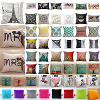 Cotton Linen Waist Throw Pillow Case Vintage Floral Cushion Cover Home Bed Decor