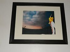 "Framed Queen Color Freddie Mercury 1986 Wembley Stadium Color On Stage 14"" x 17"""