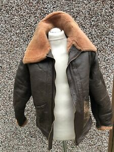 VINTAGE EARLY SHEEPSKIN FLYING  LEATHER JACKET WITH LIGHTNING ZIP SIZE 40