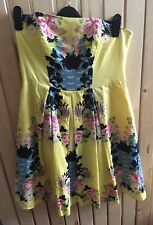 Ladies RED HERRING special edition Yellow Floral Dress Size 14 Vintage tropical