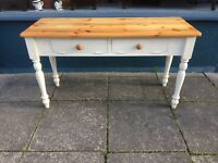Solid pine white painted serving table - tv cabinet - desk - stripped top #1588