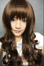 HESW29  charming brown long natural hair curly wigs for modern women wig