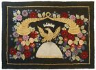 RARE US CENTENNIAL ANTIQUE C.1876 HOOKED RUG W/CROWN/EAGLE/BEEHIVE/HORNS/FLOWERS