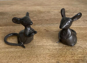 Cast Iron Mouse Freestanding 2x Design Choices Indoor-Outdoor Character Decor