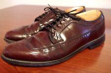Vintage Hanover Brown Leather Brogue Wingtip Shoes Oxfords Mens 10 D USA