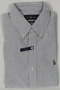 Ralph Lauren Grey White Slim Fit Stretch Oxford Dress Shirt NWT