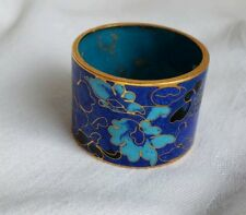 Vintage Napkin Ring Cloisonne Flower Pattern Retro Collectable #5