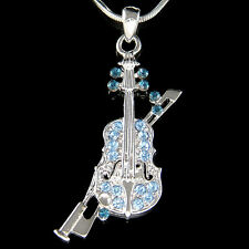 w Swarovski Crystal Fiddle ~Blue VIOLIN Bow Music Musical Pendant Chain Necklace