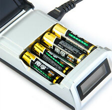 Hot 4 Slots LCD Smart Charger for AA / AAA NiCd NiMh Rechargeable Batteries EU