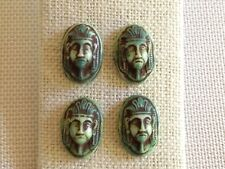 4 Vintage Egyptian PHARAOH Green, Brown Cameo GLASS CABOCHONS LOT Beads 16x11mm