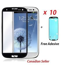 10 x New Black Replacement LCD Front Glass Lens Samsung Galaxy S3 i9300 Adhesive
