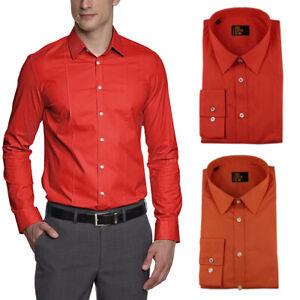 Seidensticker Herren Langarm Business Hemd UNO SUPER SLIM Stretch Kent orange