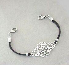 Womens Black Leather Filigree Medical Alert ID Replacement Bracelet Strand
