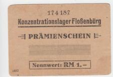 1 Reichsmark Prämienschein 1943 Deutschland / Konzentrationslager Flossenbürg
