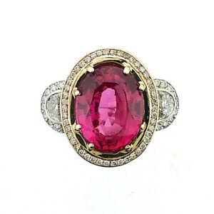 Certified Pink Spinel & Diamond 2tone White & Rose Gold Gemstone Ring in 14k sz7