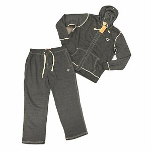 True Religion Sweatsuit Mens Size 4XL Gray Hoodie Sweater w/ Pants Matching Set