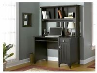 Office Desk With Hutch Computer Table Workstation Storage Furniture Wood Brown
