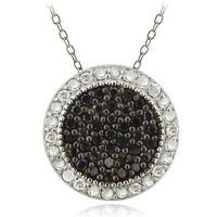 "925 Sterling Silver 1/2ct Black & White Diamond Circle Necklace, 18"""