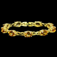 15.80 CT. REAL ORANGISH YELLOW CITRINE 9X7 MM. STERLING 925 SILVER BRACELET 7.25