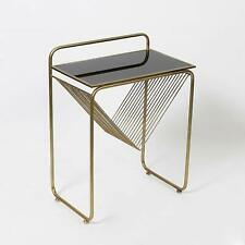 Modern Style Abstract Triangle Lined Metal Side Table with Glass Top