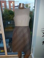 HOBBS UK 12 PENCIL BROWN CREAM HERRINGBONE TWEED WOOL BLEND SHIFT DRESS EU 40