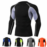 Mens Workout Compression Shirt Basketball Training Long Sleeve T Shirt Quick-dry