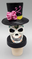 TWOS COMPANY DAY OF THE DEAD SUGAR SKULL DIA DE LOS MUERTOS WINE BOTTLE STOPPER