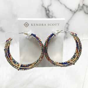 Kendra Scott Britt Beaded Hoop Earrings in Multicolor Mix and Gold Plated