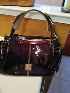 Dooney & Bourke Dark Raisin Brown Patent Leather Purse Bag Hobo