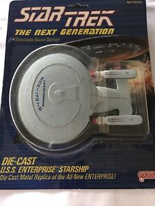 Star Trek TNG Die-Cast Metal U.S.S Enterprise Starship By Galoob (1988) MOC