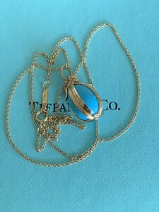 Tiffany & Co Schlumberger 18K Gold Turquoise Egg Charm Pendant Necklace 18 inch