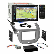 Soundstream DVD GPS Sirius Stereo Silver Dash Kit Harness for 2009-13 Honda Fit