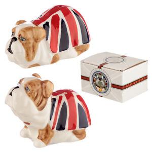 Fun Ceramic Union Jack Flag British Bulldog Salt and Pepper pots Set shakers