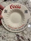 "Coors Ceramic Ashtray 6"" Diameter 1"" Height Vintage America's Fine Light Beer"