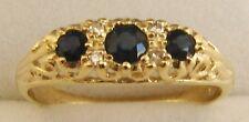 GENUINE 9K 9ct SOLID GOLD  NATURAL SAPPHIRE & DIAMOND ANNIVERSARY RING