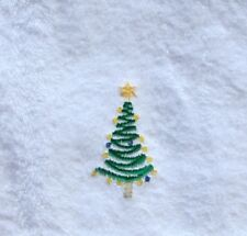 Personalized Embroidered Christmas Tree on White Hand Towel -100% Cotton Lombs