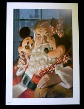 Disneyland Mickey Mouse Minnie with Santa Claus Christmas Print by Charles Boyer