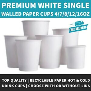 4oz/7oz/8oz/12oz/16oz White Paper Coffee Cup With or Without White Sip Lids